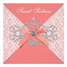 coral diamonds coral sweet 16 birthday invitation ladyprints