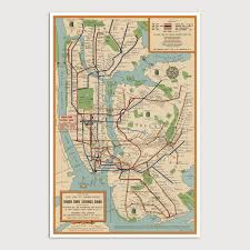 New York Street Map by New York City Subway Vintage Map Art Print 1954 U2013 Blue Monocle
