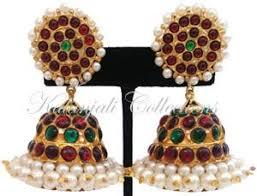 kempu earrings pearl kempu jhumki earrings jmk2527 kalanjali collections