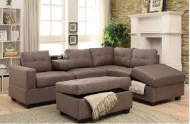 rena stone reversible sectional with drop down tray storage ottoman