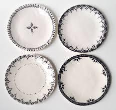 set of 4 dessert plates black u0026 white ceramic entertain