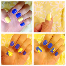 manicure monday blue yellow accent nails styled with joy