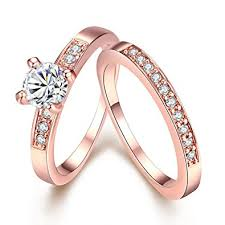 gold promise rings eternity women s pretty 18k gold plated