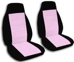 Light Pink Car Two Tone Car Seat Covers Front Semi Custom Black U0026 Red Yellow