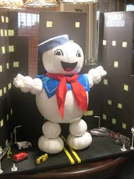 Stay Puff Marshmallow Man made from pumpkins Son made this for