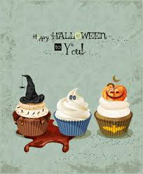 halloween poster with cupcakes pumpkin ghost witch hat spiders