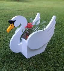 wooden handmade animal planter swan by cutsncrafts on etsy