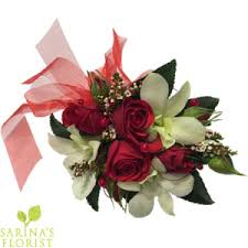 Red Rose Wrist Corsage Wrist Corsage Red Mini Rose With White Orchids