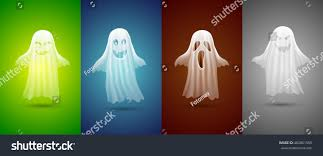white ghosts halloween on different backgroundcute stock vector