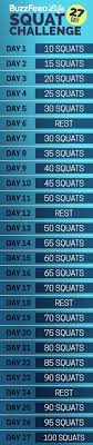 Water Challenge Buzzfeed Here S Your Daily Squat Schedule Take Buzzfeed S 27 Day Squat