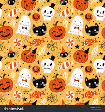 halloween holiday seamless pattern background hand stock vector