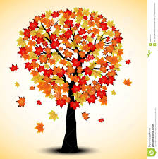 decorative autumn tree silhouette with brown leaves color