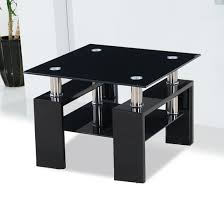 Black Side Table Kontrast Black Glass Side Table With High Gloss Legs Flat