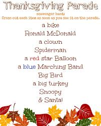thanksgiving parade scavenger hunt printable for the table