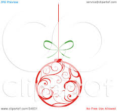clipart illustration of a white christmas ornament with red swirl