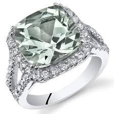 amethyst engagement rings amazon com 4 75 carats cushion cut green amethyst ring sterling