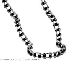 black link necklace images Mens bike chain necklace with black in 9mm polished stainless jpg