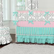 Pink And Brown Damask Crib Bedding Teal And Brown Damask Crib Bedding Baby Bed