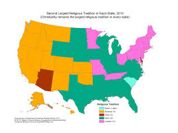 Radar Map Of The United States by The Largest Religion In Every State Other Than Christianity
