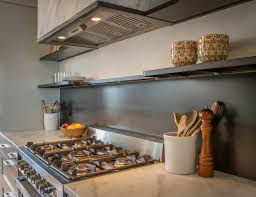 Stainless Steel Kitchen Backsplashes Rolled Steel Kitchen Backsplash With Floating Shelving R