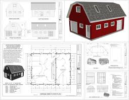Garage Plans With Storage by G551 24 X 32 X 9 Gambrel Barn Sds Plans
