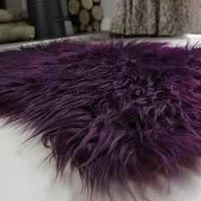 Faux Fur Sheepskin Rug Purple Soft Shaggy Faux Sheepskin Rug Kukoon