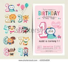 birthday anniversary numbers cute animals birthday stock vector
