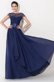 elegant chiffon lace blue long bridesmaid dress short sleeve
