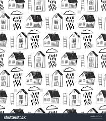 city seamless pattern hand drawn houses stock vector 580736539