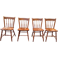 Windsor Dining Room Chairs Ethan Allen Baumritter Set Of 4 Solid Cherry Windsor Dining Chairs