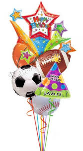 custom balloon bouquet delivery custom name all sports birthday balloon bouquet 6 balloons