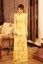 gorgeous prom dresses brightly yellow full lace crew neckline long