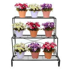 flower stand 3 tier decorative black metal plant stand planter