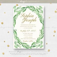 wedding invitations gold and white greenery green leaves wedding invitation set eucalyptus leaf