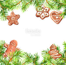 christmas cookies gingerbread man conifer tree branches frame