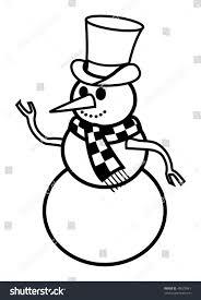 cartoon vector outline illustration snowman stock vector 45027841
