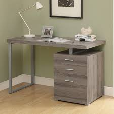 Dark Wooden Table Top Desk Design Ideas Features Grey Iron Frames And Rectangle Wood