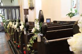 flower design wedding ceremony styling pew end decorations at all