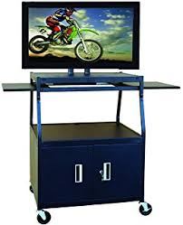 multimedia cart with locking cabinet amazon com hamilton buhl flat panel av cart with locking cabinet