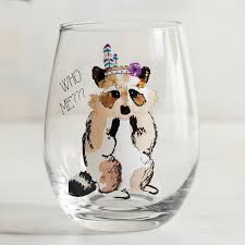 who me raccoon stemless wine glass clear products pinterest
