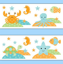 SEA LIFE NURSERY Wallpaper Border Wall Art Decal Fish Ocean Animal - Kids room wallpaper borders