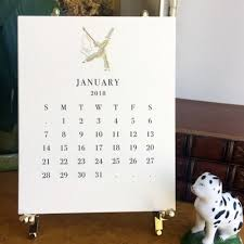 2018 easel desk calendar the printery 2018 ecru calendar with brass easel kneen co