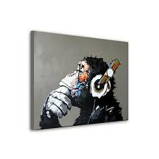 Music Decorations For Home Hand Painted Modern Abstract Oil Painting Orangutan Listening To