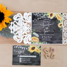 wood wedding invitations rustic watercolor yellow sunflower barn wood wedding invitation