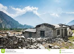 view of local house in himalayan mountains nepal royalty free