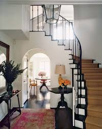 Black Banister Hovering Entryway With Modern Colonial Decor Plus Black Banister