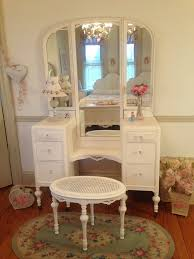 Vanity Table With Tri Fold Mirror Stunning White Antique Vanity With Tri Fold Mirror And Matching