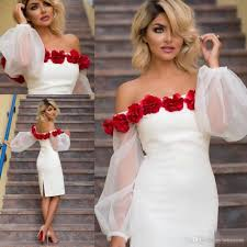white short cocktail party dresses 2017 off shoulder puffy