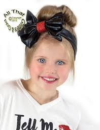 bow headbands black faux leather glitter big bow baby girl