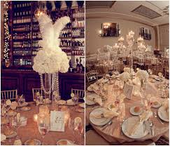Centerpiece With Feathers by Glamorous White Wedding At The Cescaphe Ballroom
